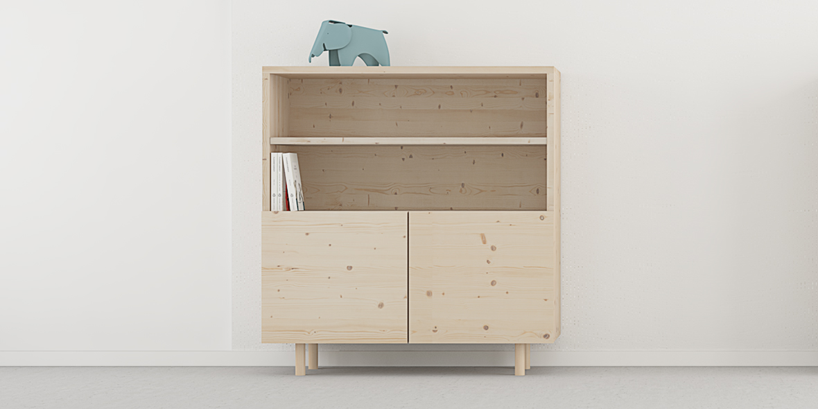 mueble librería con puertas estilo nórdico madera natural