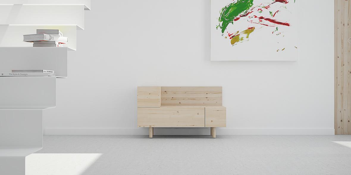 recibidor nórdico cajones en madera maciza diseño original