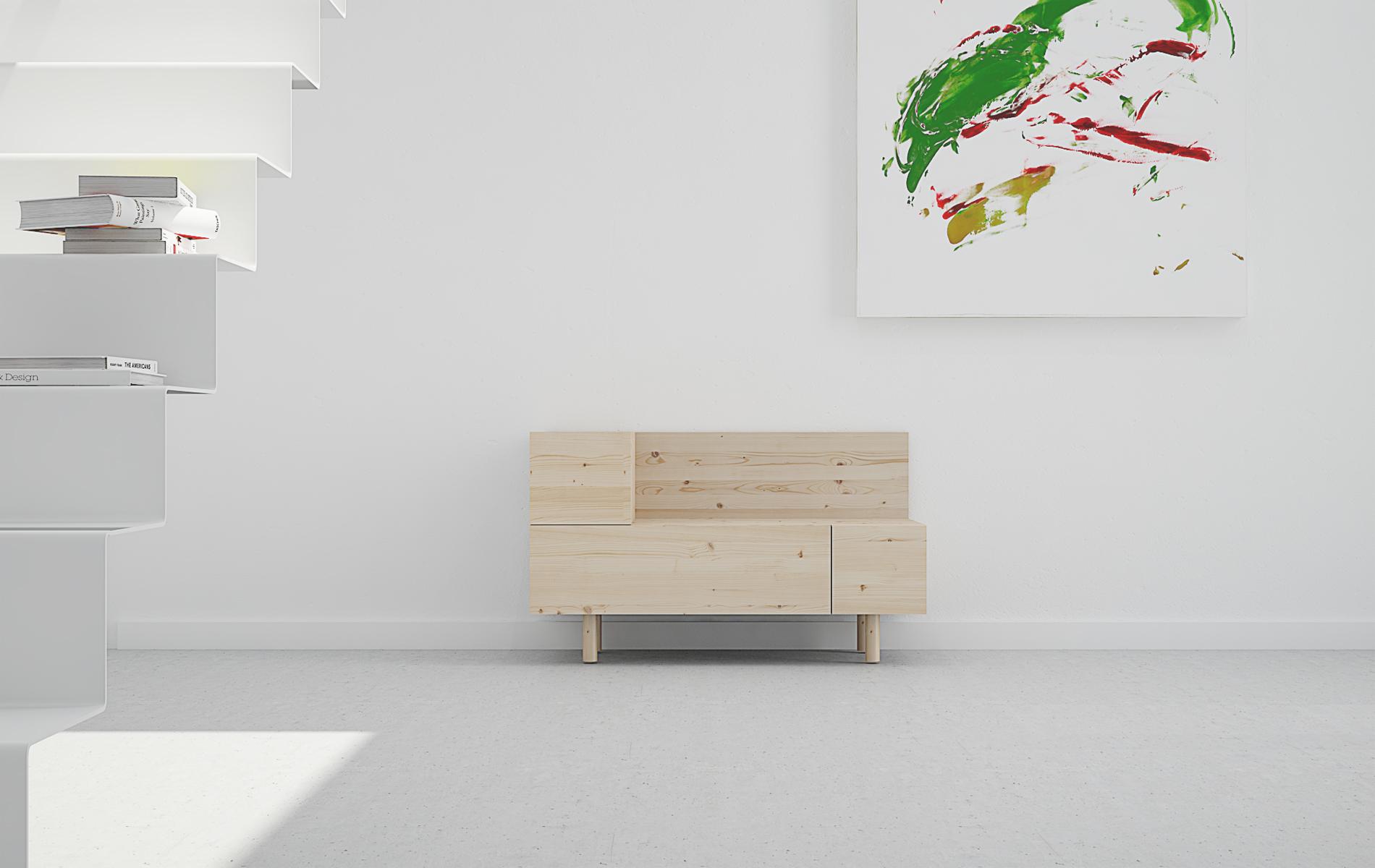 mueble recibidor diseño original en madera