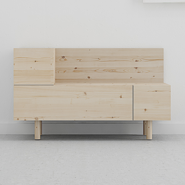 mueble recibidor en madera maciza diseño escandinavo