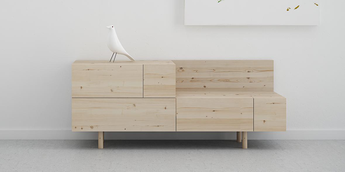recibidor cajones madera natural con nudos estilo nórdico