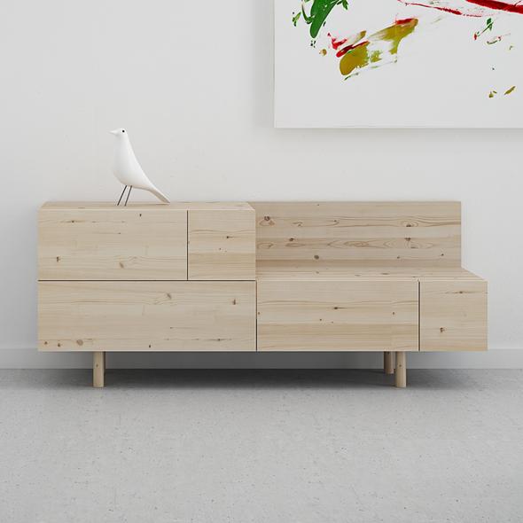 mueble recibidor cajones madera maciza diseño original