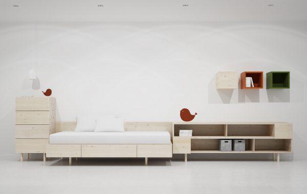 dormitorio juvenil estilo nórdico en madera maciza que no pasa de moda
