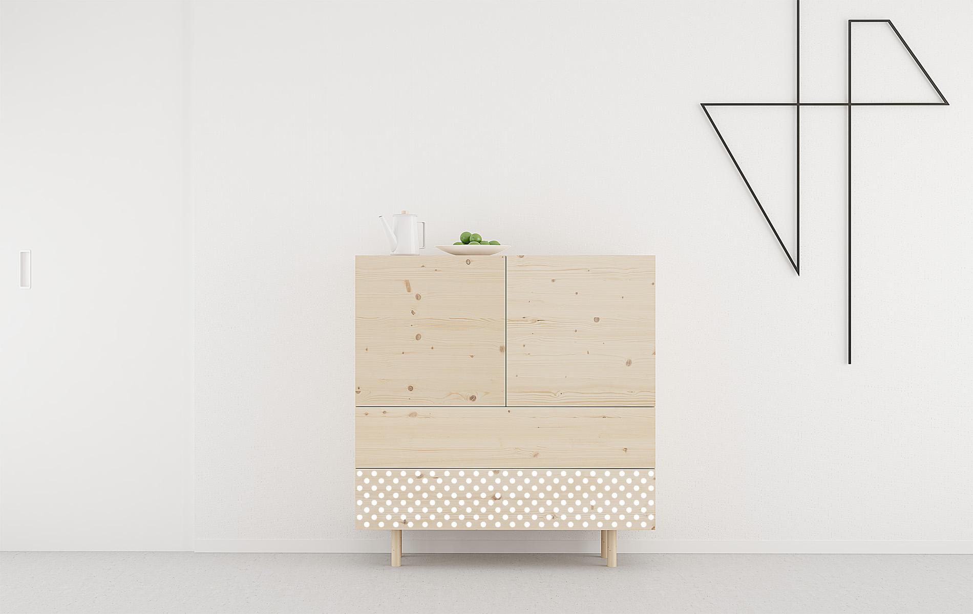 aparador salon madera y blanco