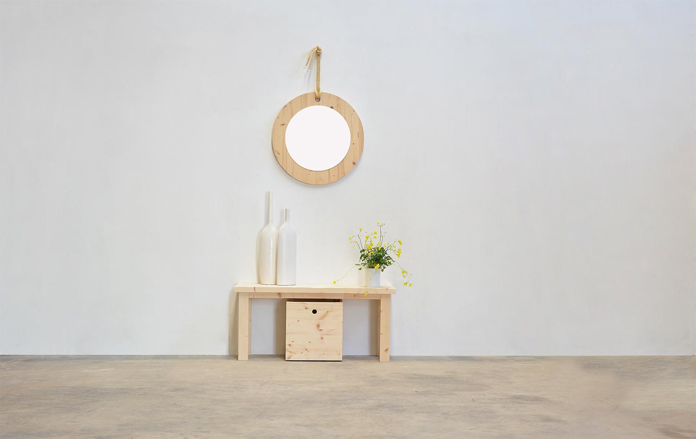 banco madera natural con caja