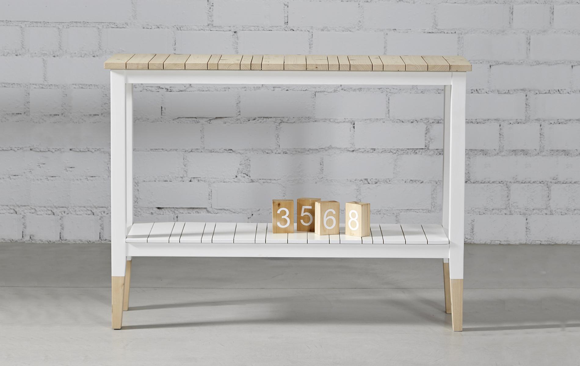 recibidor estilo nórdico madera y blanco