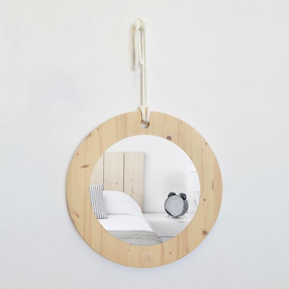 espejo redondo madera algodon
