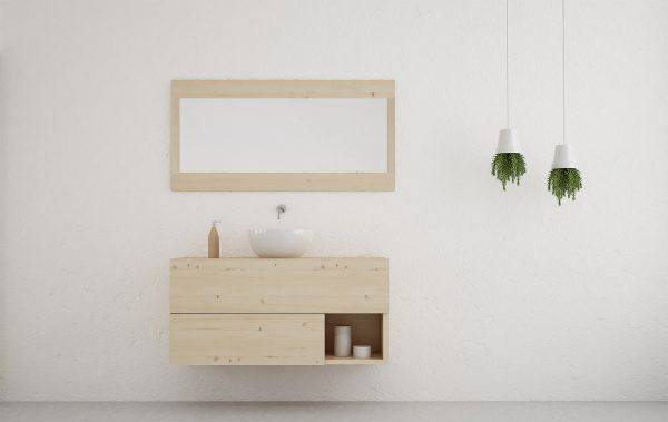 espejo baño rectangular madera natural