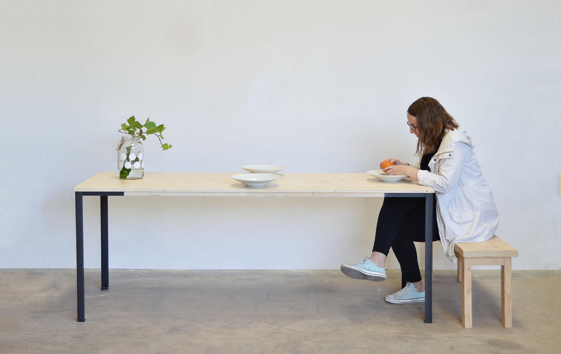 mesa comedor madera metal