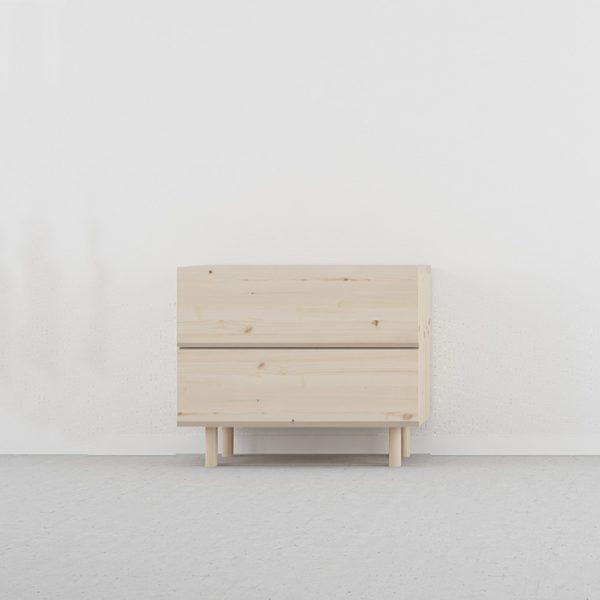 mesita de noche 2 cajones estilo nórdico madera escandinava