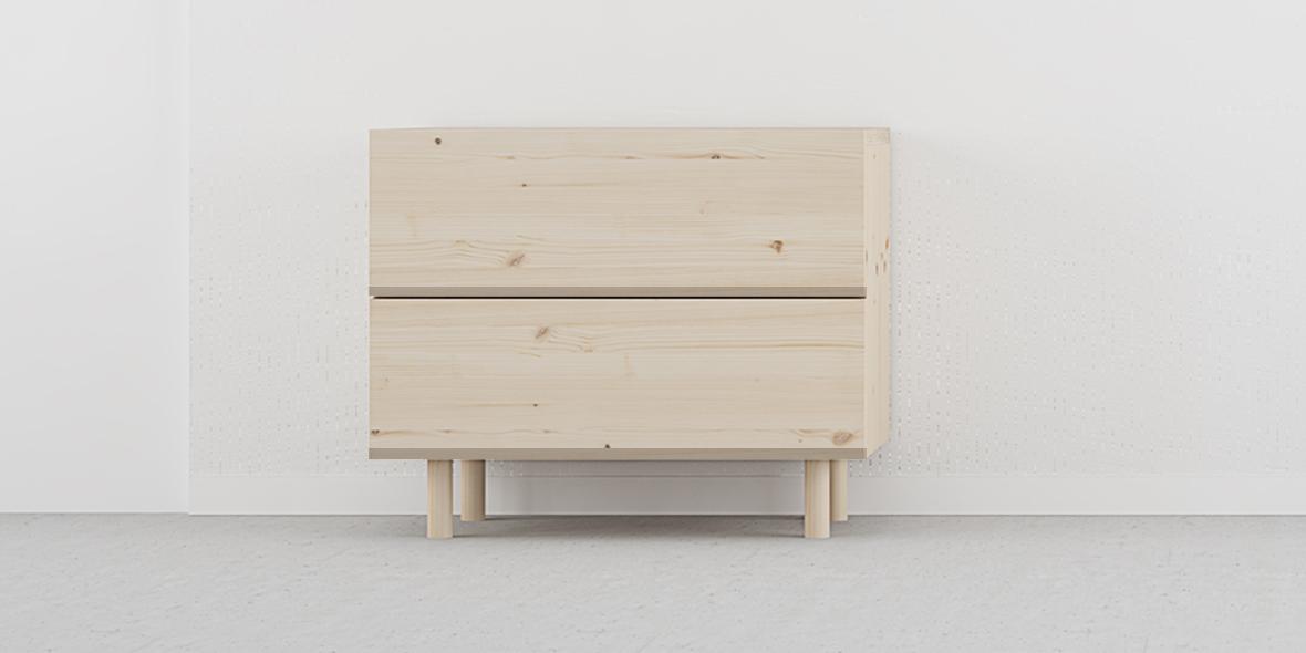 mesita noche 2 cajones estilo nórdico madera color natural