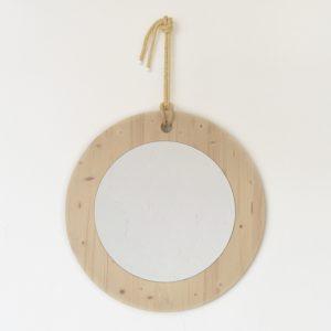 espejo redondo madera color natural y cuerda pita