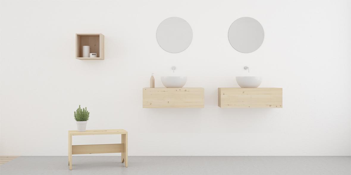 mueble de baño en madera natural