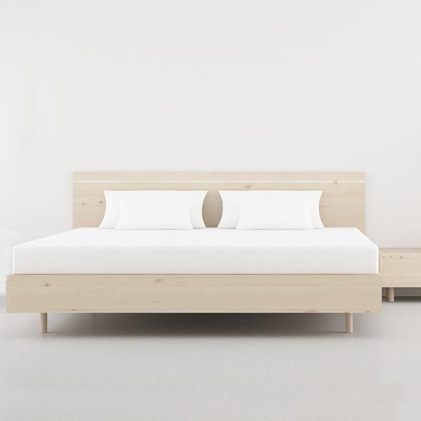 cama madera natural recta