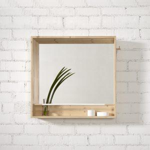 espejo cuadrado madera natural con repisa