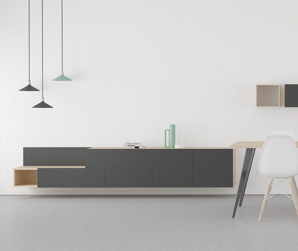 muebles con gris pizarra y madera natural