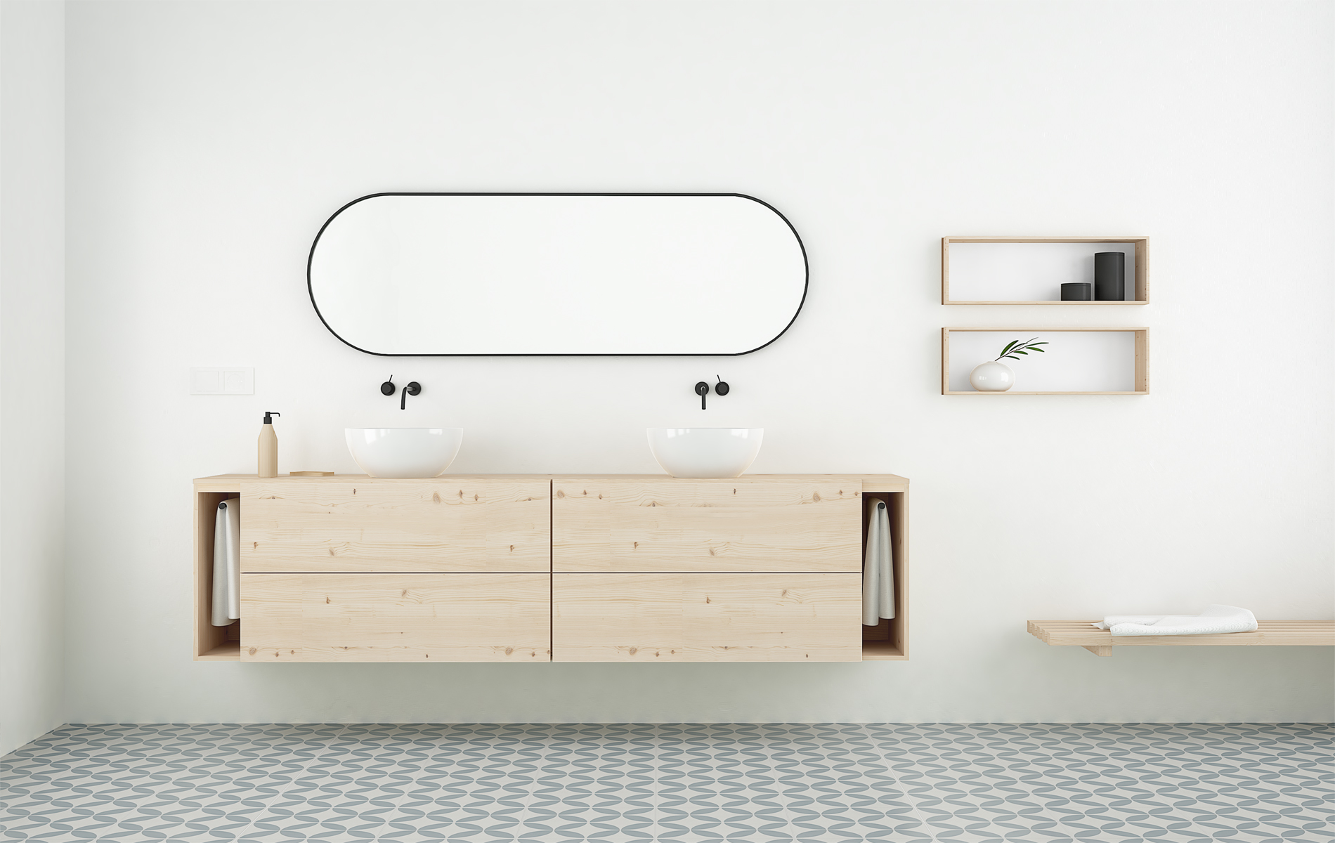 Mueble ba o madera natural maciza dise o n rdico for Muebles de bano de madera maciza natural