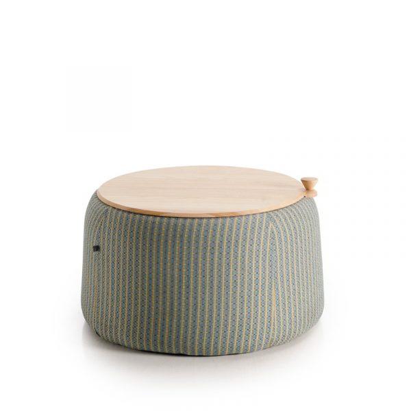 mesa de centro redonda tapizada y tapa madera original