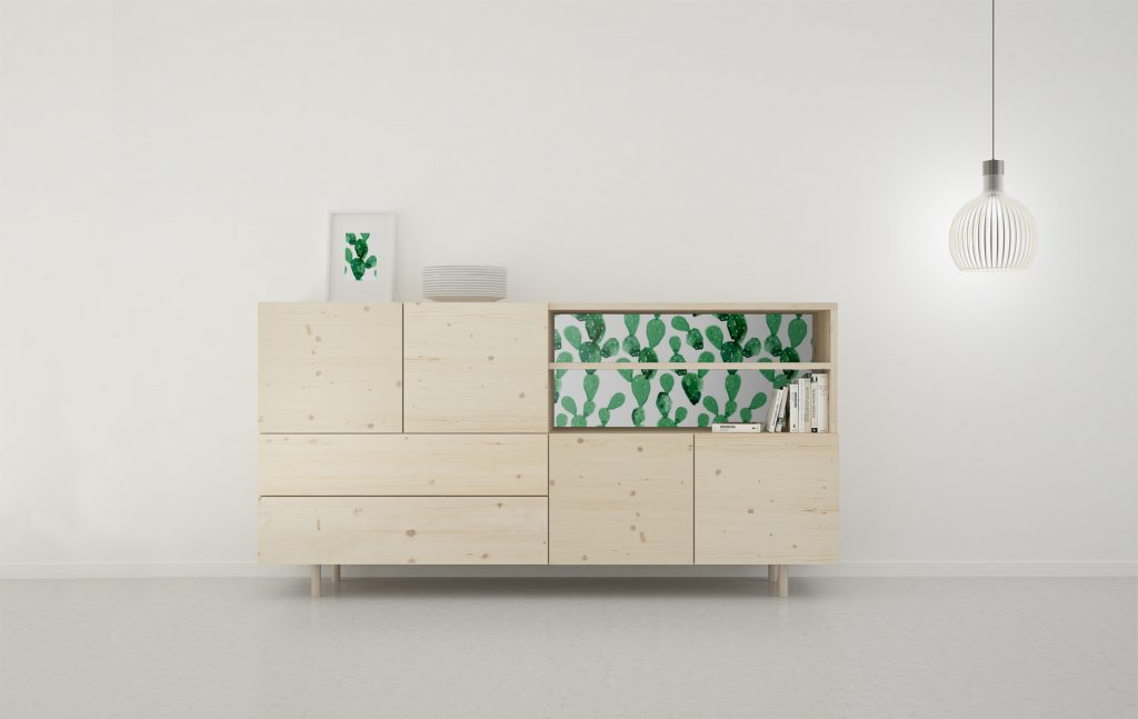 aparador madera natural con fondo con vinilo decorativo