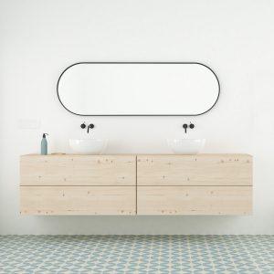 mueble de baño con cajones madera natural