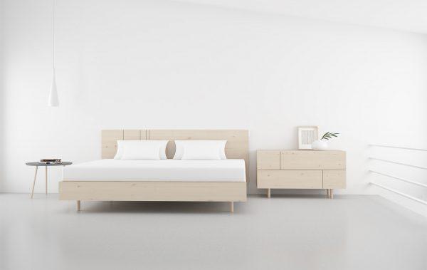 cabecero de cama madera natural estilo nordico con rayas