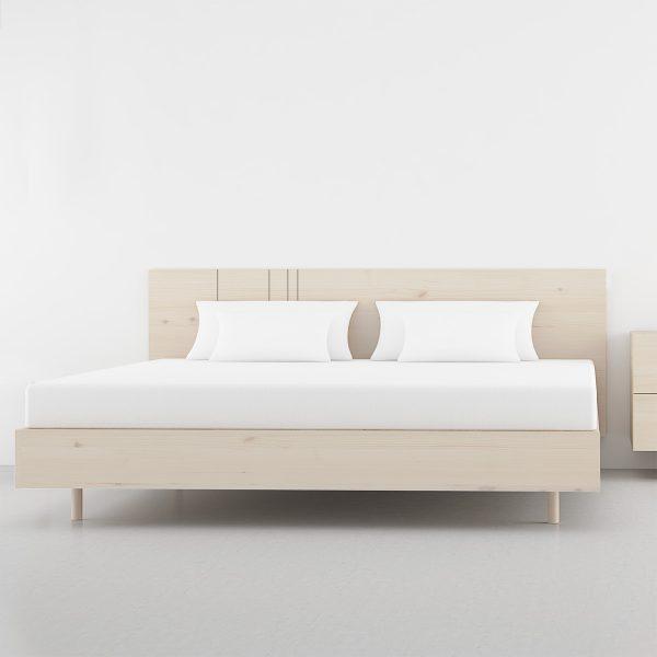 cabecero de cama con rayas verticales asimetricas madera natural