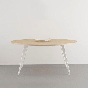 Mesa comedor redonda tapa madera natural estilo nordico