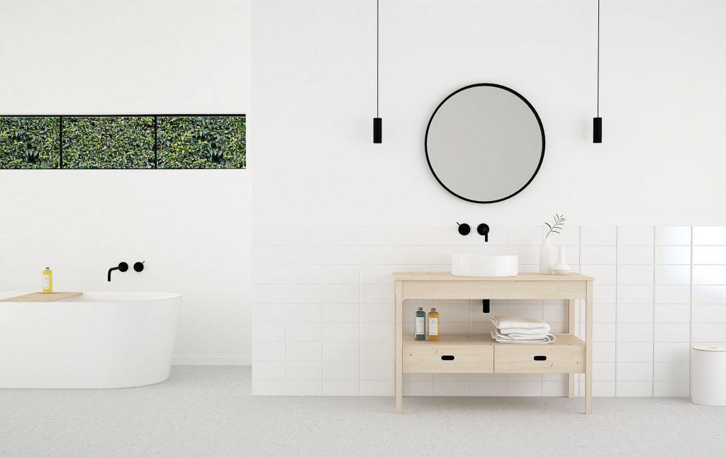 mueble de baño en madera con patas estilo nórdico