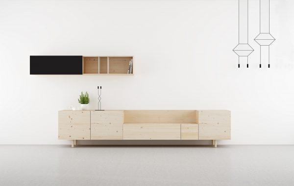 salones modernos en madera natural y negro