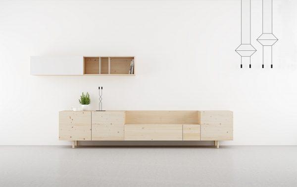 salones modernos en madera natural y blanco. Modular.