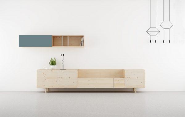 salon moderno madera natural y color azul mar