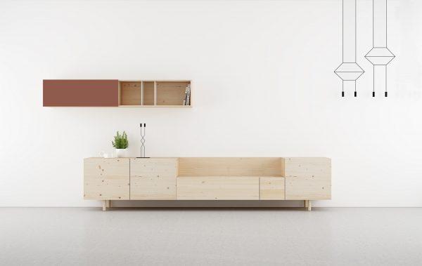 salon moderno madera natural y color rosa melocoton.
