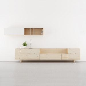 salones modernos modulares en madera natural