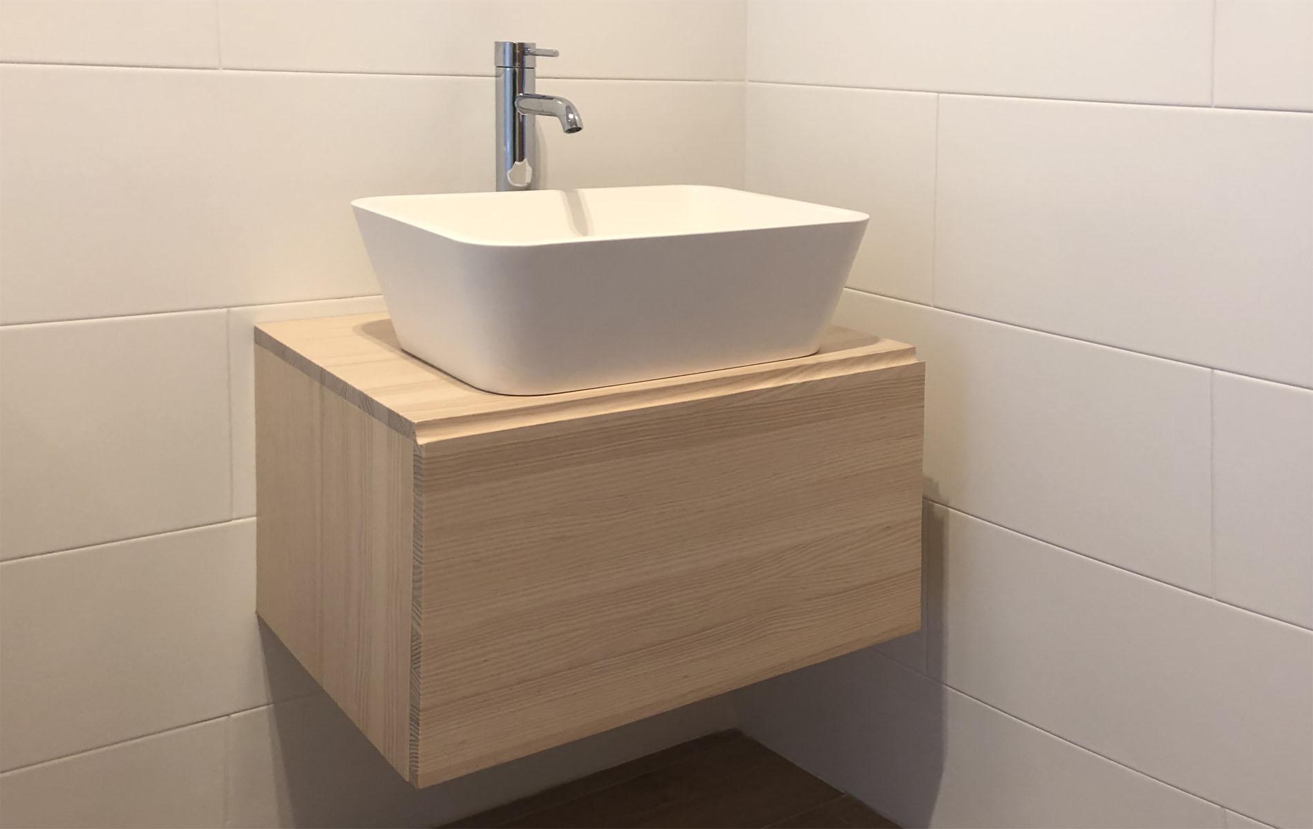 mueble de baño en madera de diseño 1 cajón 60cm