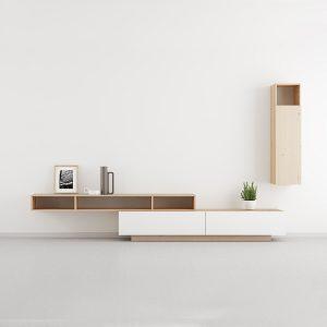 mueble salon madera con nudos estilo nordico