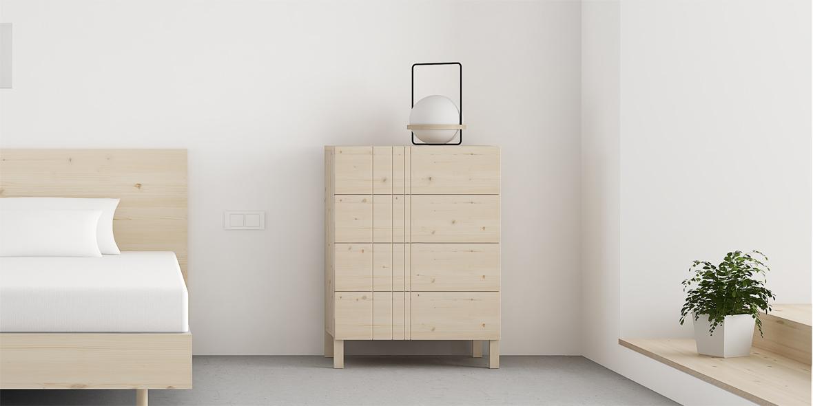 comoda con cajones diseño nordico en madera con nudos color natural