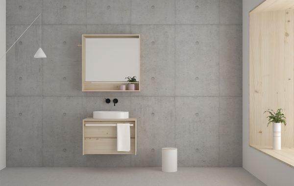 mueble de baño 1 cajón en madera maciza de diseño moderno y color natural