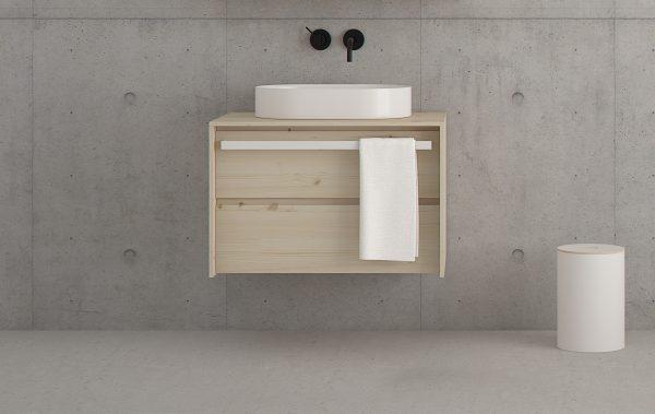 mueble de baño de diseño nordico en madera maciza. Color natural y madera con nudos.
