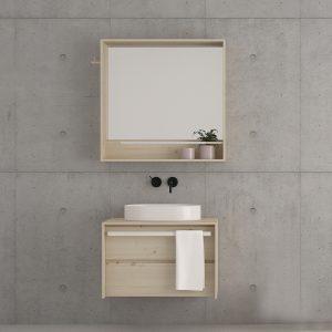 mueble de baño de 1 cajón con toallero frontal y de madera maciza de diseño moderno color natural