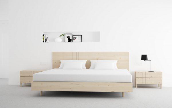 dormitorio en madera maciza diseño color natural