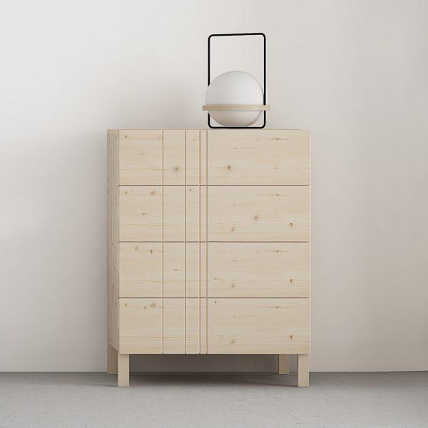 comoda 4 cajones con rayas asimetricas diseño en madera maciza